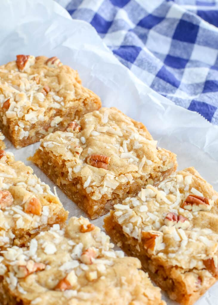 Blondies with coconut and pecans are a favorite
