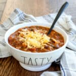 Hearty Steak Chili with five beans and sausage - get the recipe at barefeetinthekitchen.com