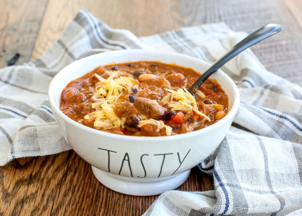 Five Bean Steak and Sausage Chili - get the recipe at barefeetinthekitchen.com