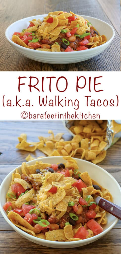 Frito Pie {aka Walking Tacos} are a crunchy, cheesy, slightly spicy bowl of delicious! get the recipe at barefeetinthekitchen.com