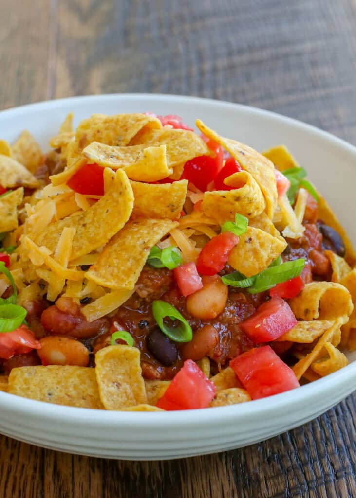 Cheesy, crunchy, slightly spicy, Frito Pie is a dinner that always gets cheers!
