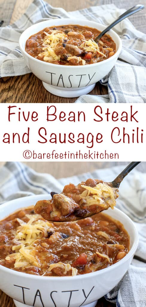 Steak Chili with Five Beans and Sausage is a hearty favorite! get the recipe at barefeetinthekitchen.com