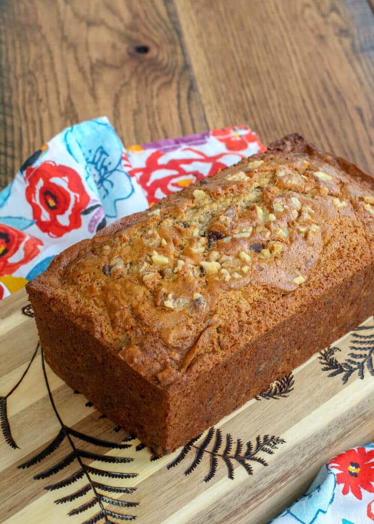 Chocolate Chip Banana Nut Bread is such an easy recipe even the kids can help!