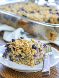Baked Oatmeal filled with blueberries is a winner
