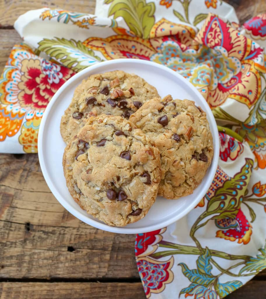 Giant Coconut Pecan Chocolate Chip Cookies - recipe in The Weeknight Dinner Cookbook!