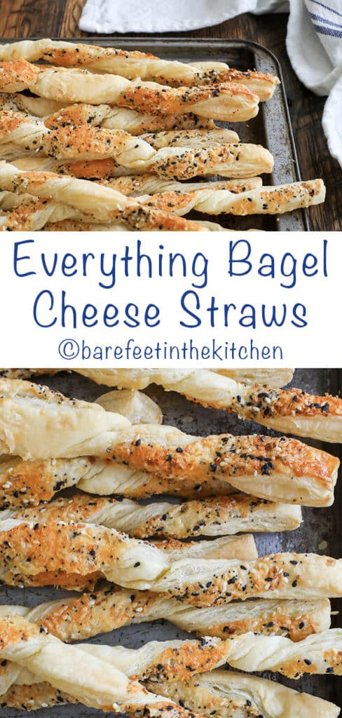 Everything Bagel Cheese Straws are irresistible! get the recipe at barefeetinthekitchen.com