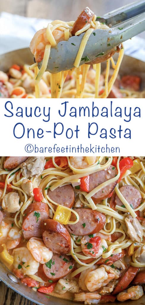 Saucy Jambalaya One-Pot Pasta is a weeknight dinner you are going to love! Loaded with fantastic flavor, kids and adults agree, it's a hit! get the recipe at barefeetinthekitchen.com