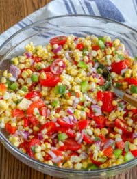 Summer Corn Salad with a Garlic Lime Dressing