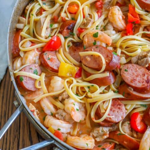 Cajun Jambalaya Pasta is a hit! get the recipe at barefeetinthekitchen.com