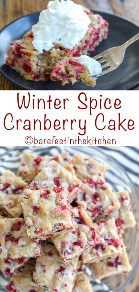 Winter Spice Cranberry Cake - get the recipe at barefeetinthekitchen.com
