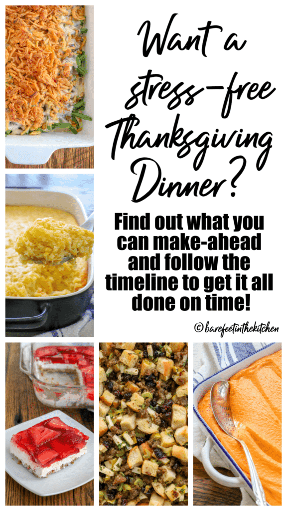 Want a stress-free Thanksgiving dinner? Find out what you can make-ahead and follow the timeline to get it all done on time!