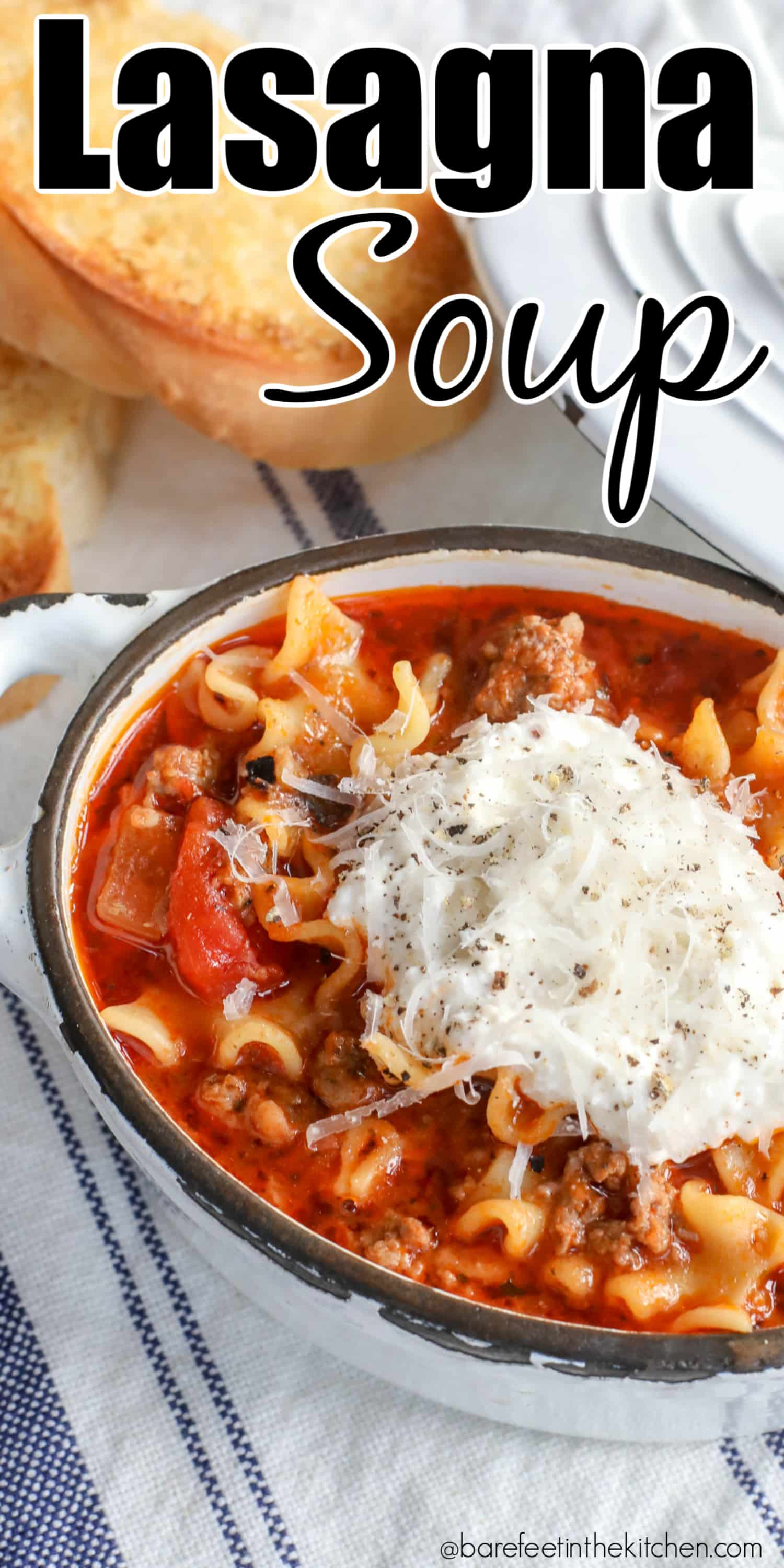 Lasagna Soup is a hearty dinner that gets cheers whenever we make it!