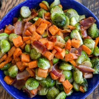 Roasted Sweet Potatoes with Brussels Sprouts and Bacon
