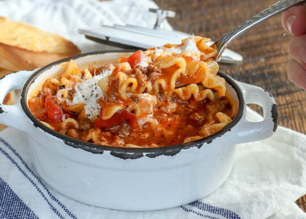Lasagna Soup is a cold weather favorite - get the recipe at barefeetinthekitchen.com