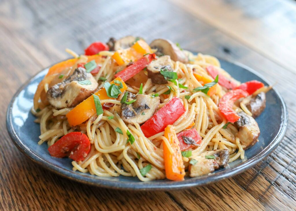 Angel Hair Pasta in a light chipotle cream sauce