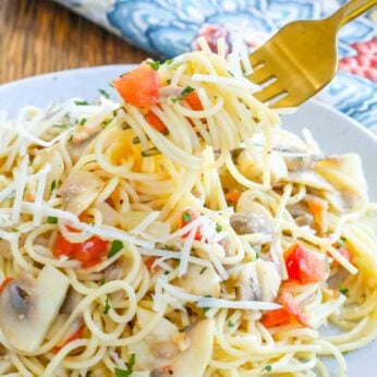 Lemon Butter Pasta with tomatoes, mushrooms, and plenty of garlic
