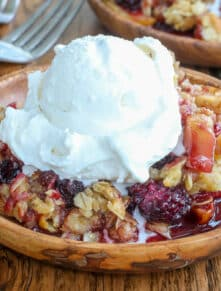Blackberry Apple Crisp is sweetly tart and perfect for summer.