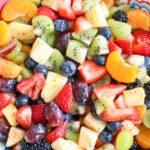 Rainbow Fruit Salad with Honey Lime Poppyseed Dressing