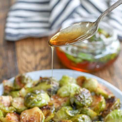 Jalapeño Honey over Crispy Roasted Brussels