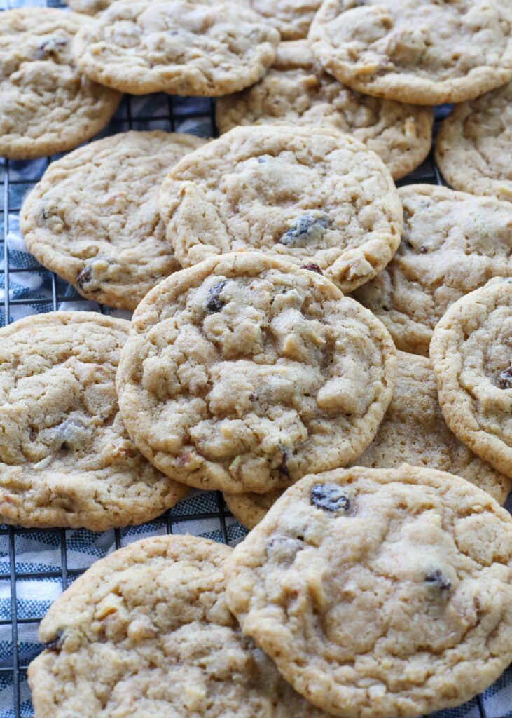 Hermit Cookies are subtly spiced and filled with nuts and raisins.