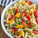 Bell Pepper Pasta Salad with a Tangy Garlic Dressing