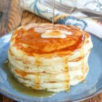 Buttermilk Pancakes with butter and maple syrup