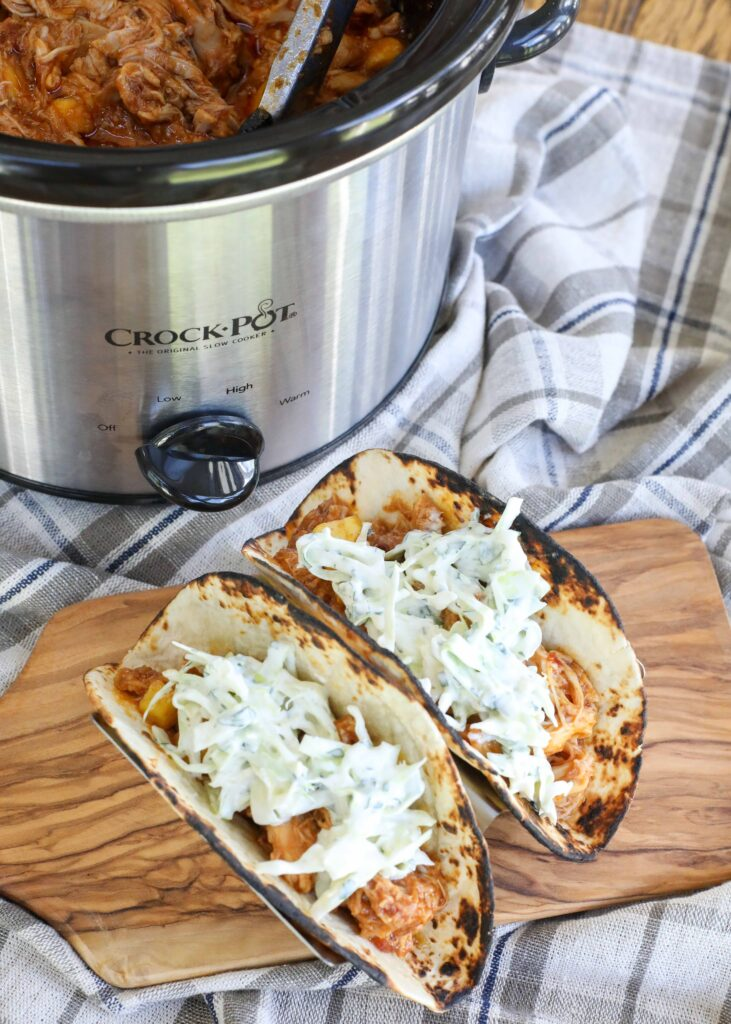 Pineapple Chicken Chipotle Tacos with Cilantro Slaw