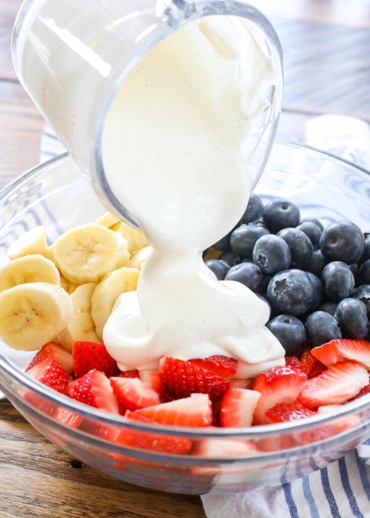 Red White and Blue Cream Fruit Salad