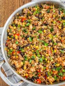 Spicy Mexican Fried Rice is filled with Ground Beef and Black Beans