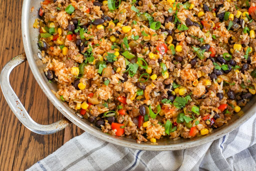 Mexican Fried Rice with Bell Peppers, Black Beans, and Corn