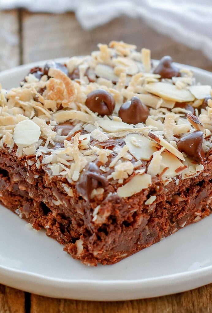 Fudgy Almond Joy Brownies are a must for any chocolate and coconut lover!