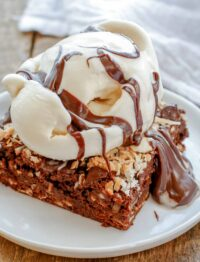 Almond Joy Brownie hot fudge sundaes