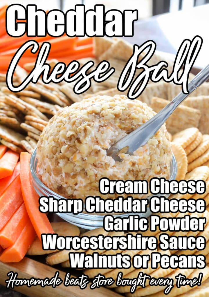 A classic cheddar cheese ball is a snack no one can resist!