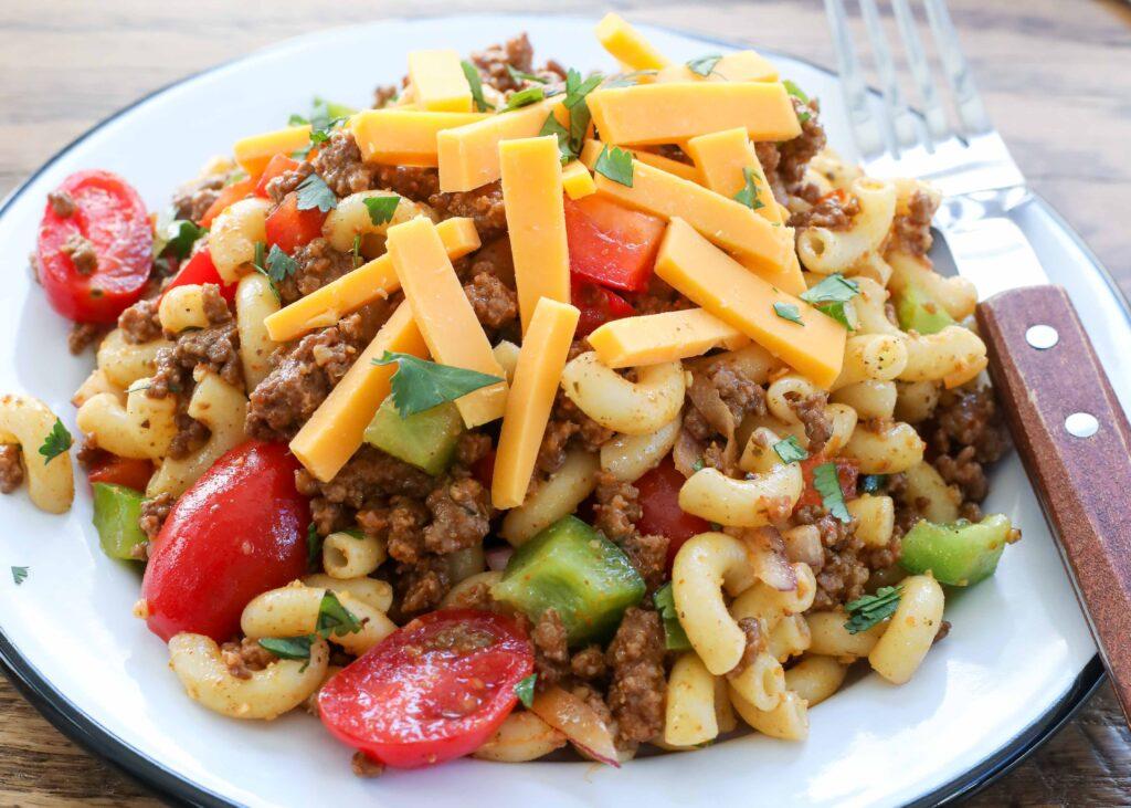 Fully loaded Cowboy Pasta Salad