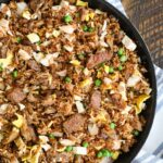 Fried rice with steak, chicken, and pulled pork - it's a meat lover's dream come true.