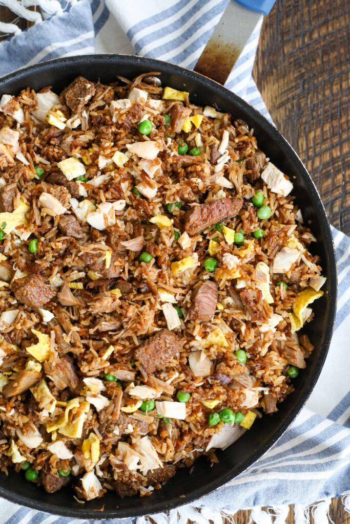 Fried rice with steak, chicken and pulled pork - it's a meat lover's dream come true.