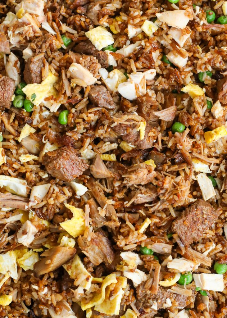 Fried rice for meat lovers with steak, chicken and pulled pork!
