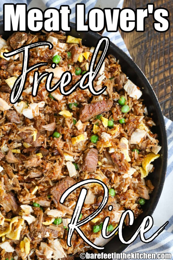 Fried rice for meat lovers with steak, pulled pork and grilled chicken!