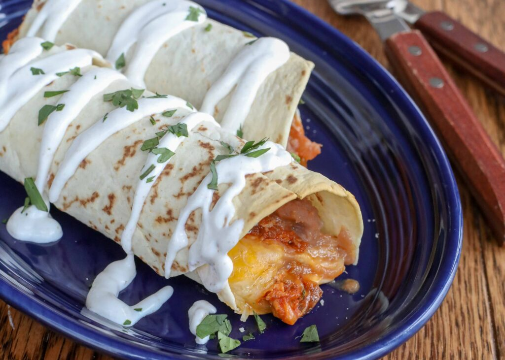 Red Chile Chicken Burritos