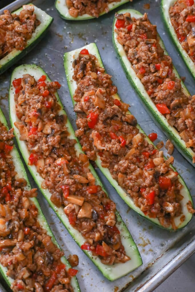 Sausage and Vegetable Stuffed Zucchini